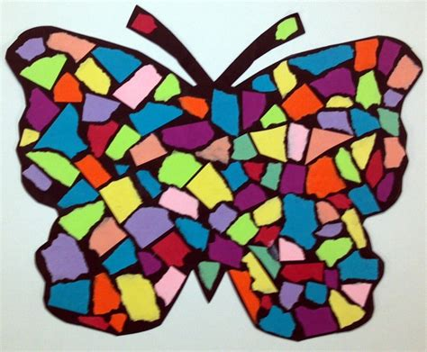 Paper Mosaic Crafts - torn paper mosaic butterfly grades 1 2 for