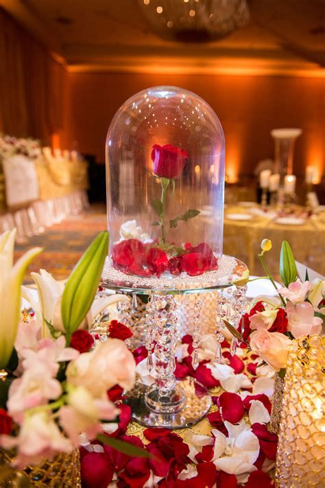 Rose dome centerpiece inspired by Beauty and the Beast