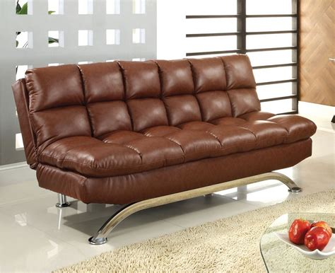 Brown Leather Futon by Saddle Brown Leather Futon Sofa Comfy Pillow Top