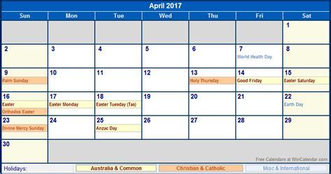 printable monthly calendar 2017 australia april 2017 calendar with holidays printable 2017 calendars
