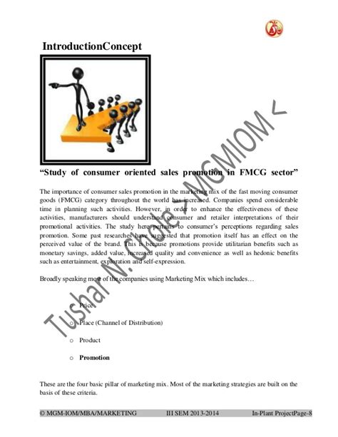 In Fmcg Sector For Mba by Study Of Consumer Oriented Sales Promotion In Fmcg Sector