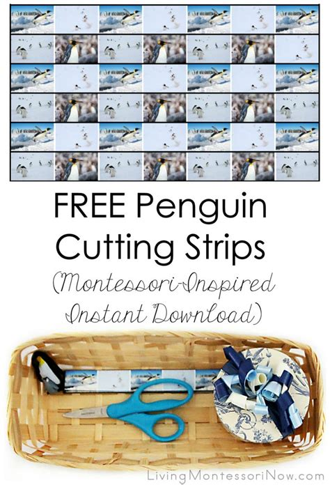 printable montessori cutting strips free penguin cutting strips montessori inspired instant