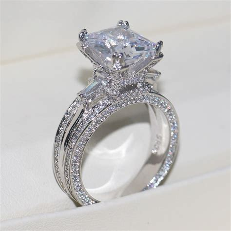 eiffel towe women jewelry 8ct diamonique cz white gold filled wedding band ring ebay