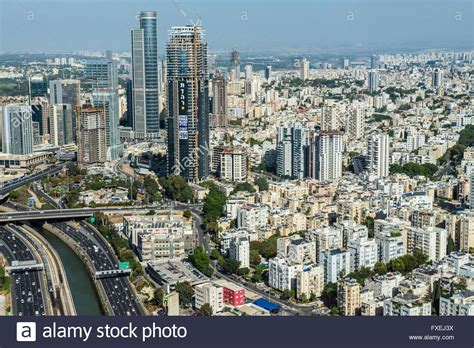 Mba Center Tel Aviv by Ayalon Highway In Tel Aviv Israel Aerial View From