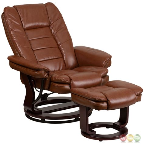 retro leather recliner brown vintage leather recliner ottoman w swiveling