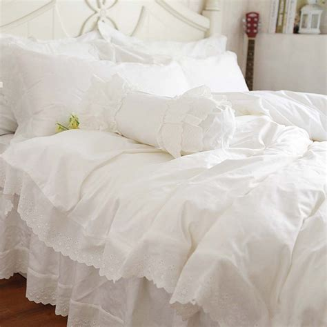 white eyelet comforter lace bedding set