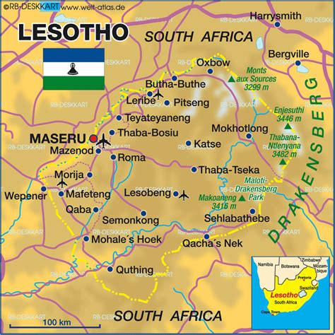 lesotho map map of lesotho map in the atlas of the world world atlas