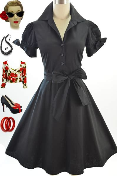 50s Style by 50s Style Black Tie Sleeve Skirt Rockabilly Pinup Day