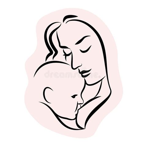 mother with baby stylized outline symbol woman