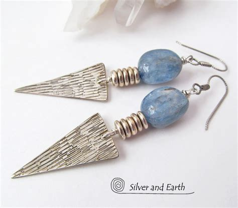 Handcrafted Silver - modern silver earrings with kyanite gemstones bold edgy