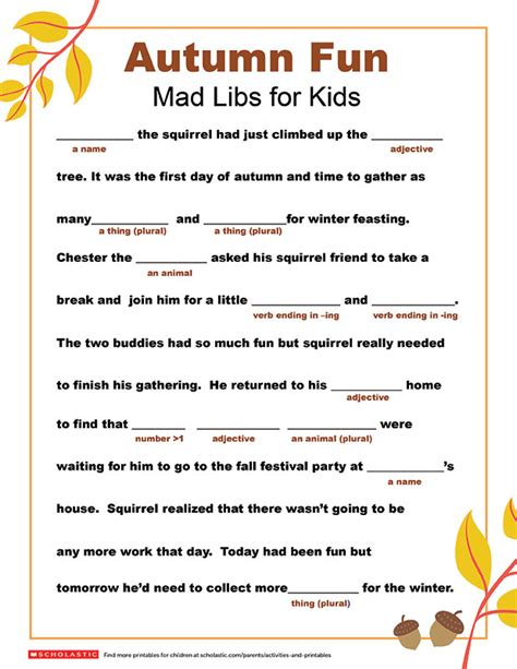 mad libs printable mad libs printable for fall parents scholastic