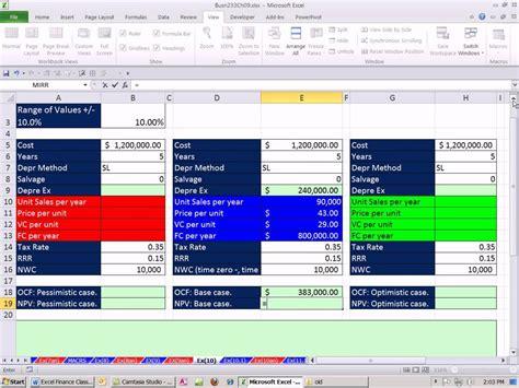 excel finance class  scenario analysis  cash flow