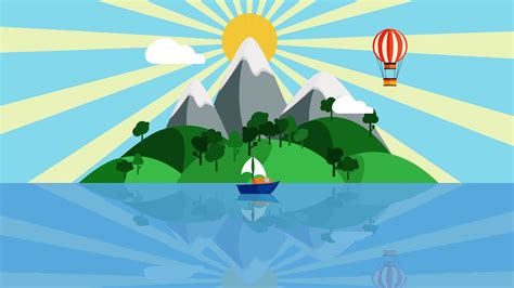 cartoon boat on the sea colorful cartoon boat sailing slowly in the ocean with