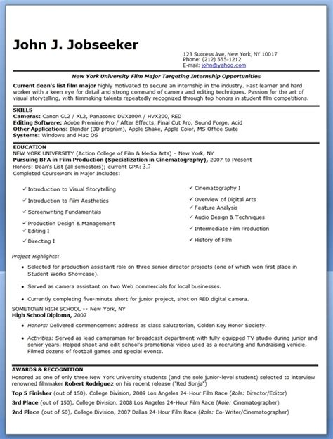Film Production Resume Template   Resume Builder