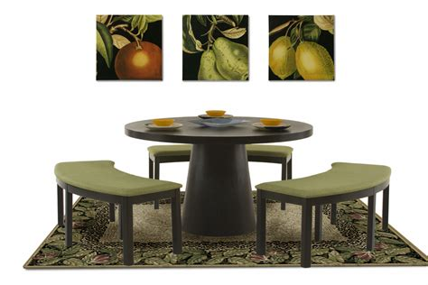 53 inch round dining table with three curved benches