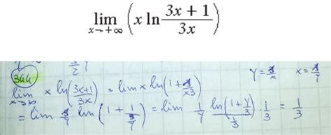 limite tende a infinito limite per x tende a infinito di xln 3x 1 3x