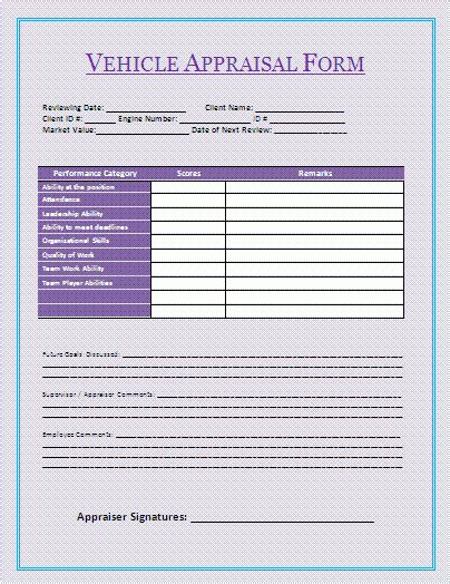 vehicle appraisal template vehicle appraisal form a to z free printable sle forms