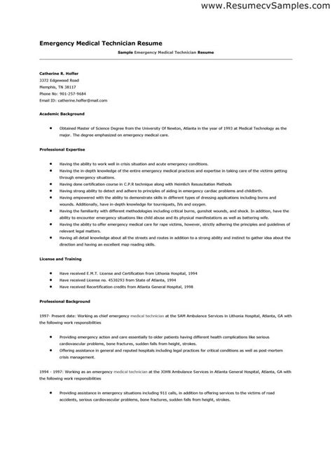 Emt Resume Sle Best Professional Resumes Letters Templates For Free Free Emt Resume Templates
