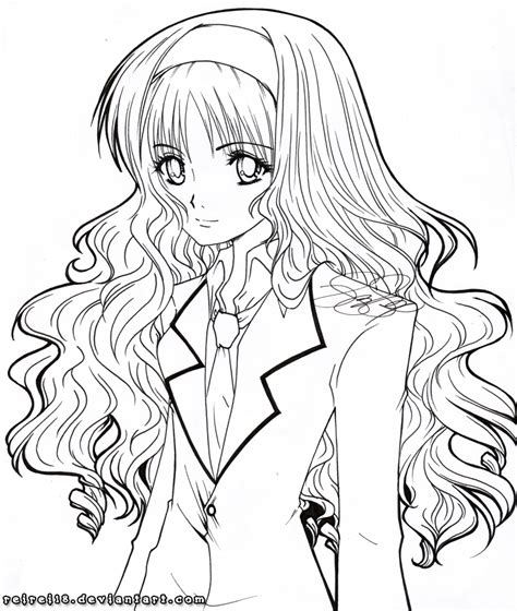 coloring pages of curly hair straight hair anime coloring pages