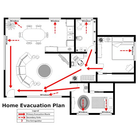 Home Evacuation Plan 2 Emergency Evacuation Route Template
