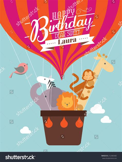 balloon card template air balloon birthday card template stock vector