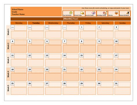 monthly event scheduling calendar template formal word