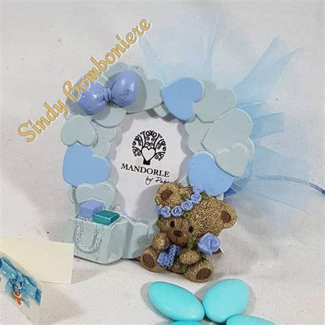 cornice battesimo bimbo bomboniera portafoto cornice cuori orsetto con fiore bimbo