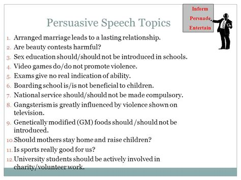 Informative Speech Essay Topics by Persuasive Speech Topics For Children