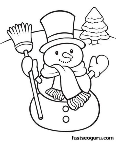 Printable Happy Snowman Christmas Coloring Pages Printable Snowman Coloring Pages
