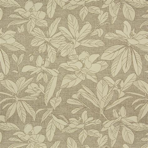 flower upholstery fabric beige on beige woven large natural leaf and flover themed