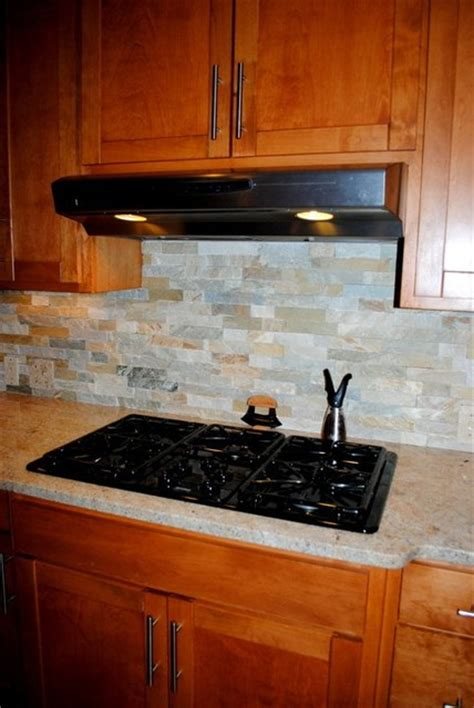 stacked stone kitchen backsplash stacked stone tile backsplash and millennium cream granite