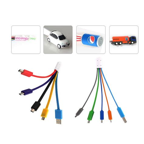 Kabel Charger 4 In 1 Multi 1 4 in 1 charger cable with custom shape brand logo