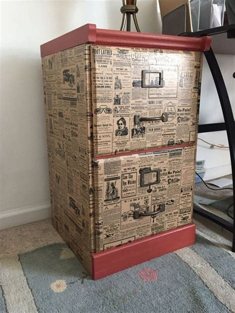 newspaper decoupage furniture file cabinet upcycle with wrapping paper hometalk