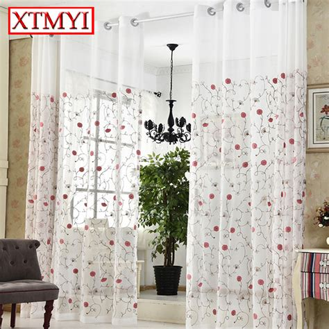 where to buy bedroom curtains ᓂpastoral pink embroidered voile curtains ᗐ bedroom