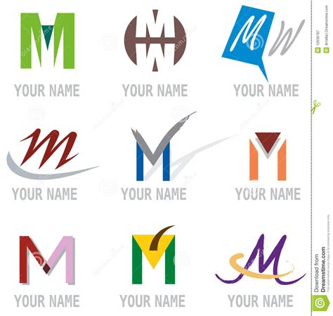 M Vector Logos Brand Logo - set of icons and logo elements letter m vector