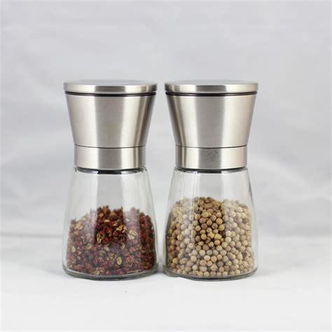Kitchen Salt Grinder 2 Pcs Lot Fashion Stainless Steel Glass Pepper Mill