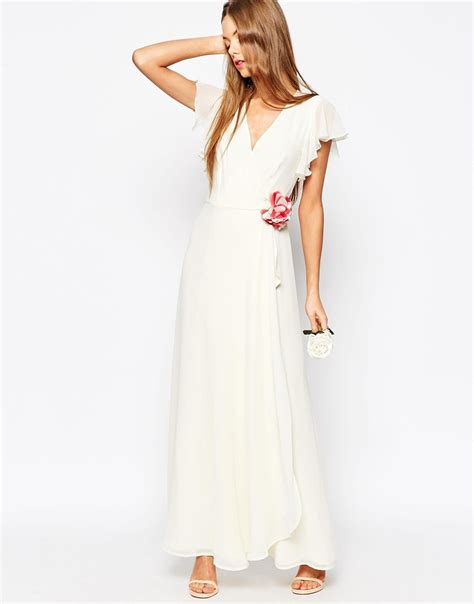are maxi dresses ok for weddings asos wedding corsage wrap maxi dress white in white lyst
