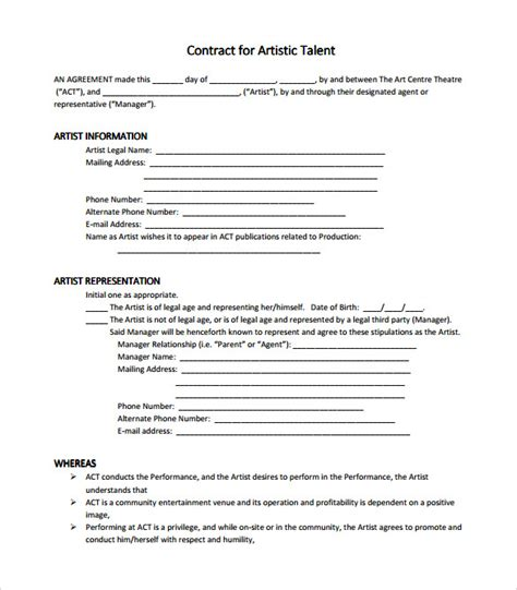 artist management contract template 8 download