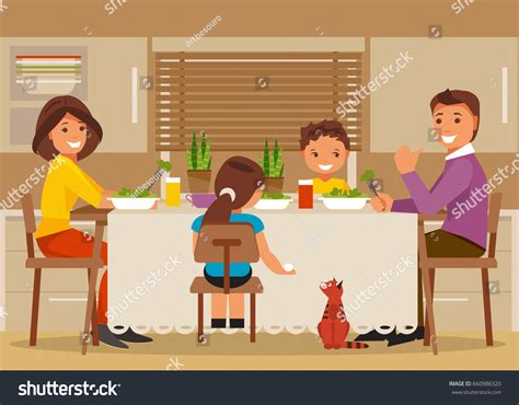 Happy In The Kitchen A Dinner A Signing by Children Sit Table Kitchen Stock