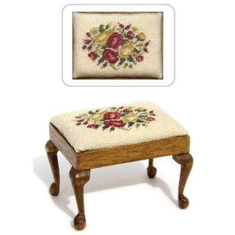 dollhouse needlepoint rectangular stool kit summer roses
