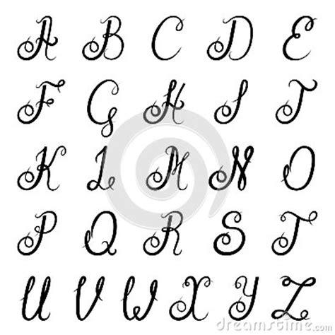 lettere alfabetiche stilizzate il nero di alfabeto di calligrafia illustrazione