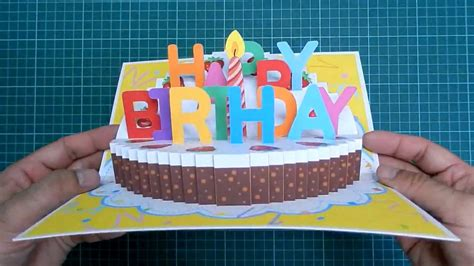 birthday cake popup card happy birthday kirigami free template happy birthday cake pop up card tutorial part ii candle