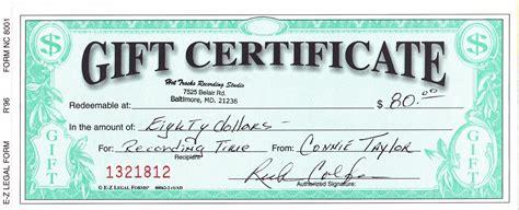 gift certificates tracks