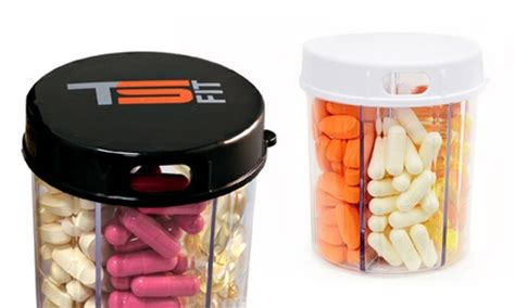 6 section pill organizer six compartment pill dispenser with easy grip lid groupon