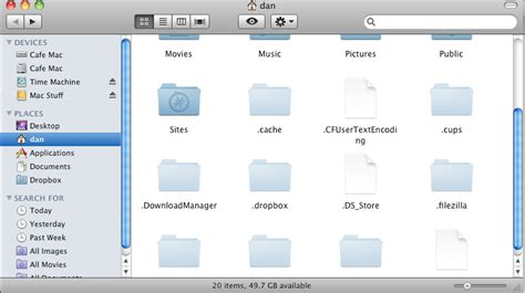 how to show files in os x almost