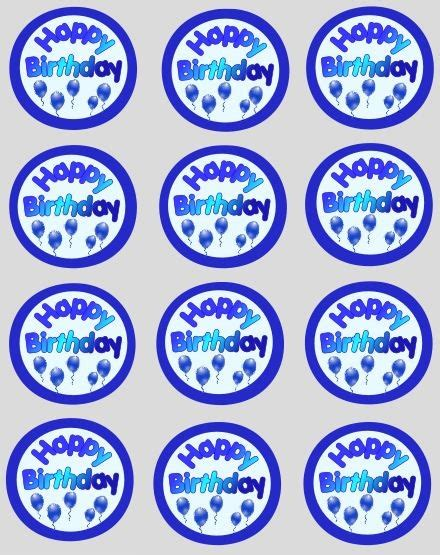 Cupcake Topper Happy Birthday Happy Birthday Blue Cupcake Decoration Toppers