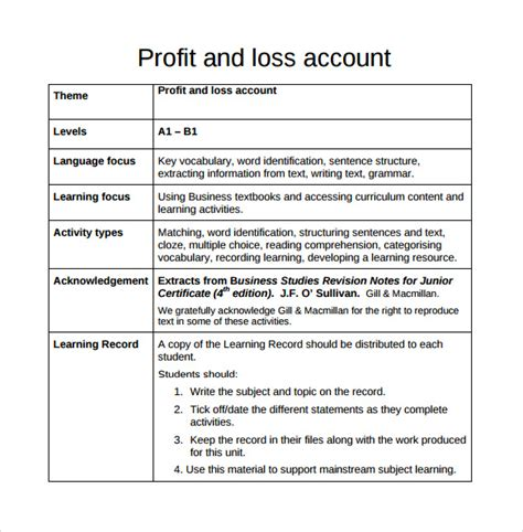 profit and loss templates profit loss worksheet worksheets for school getadating