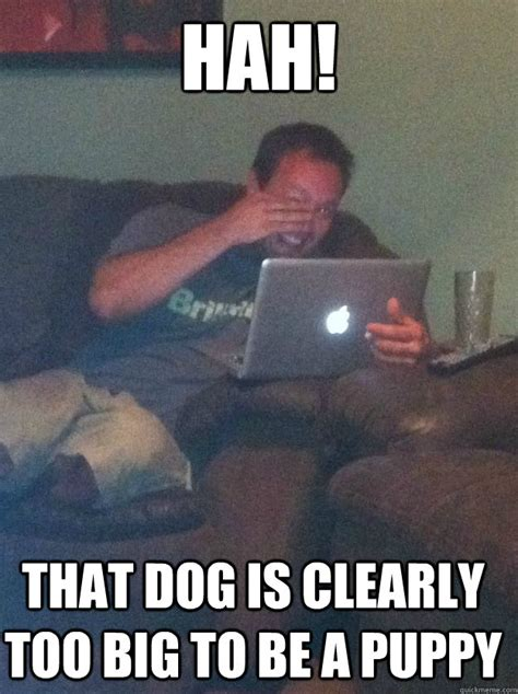 Big Meme - hah that dog is clearly too big to be a puppy meme dad memes