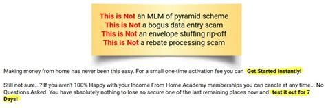 income from home academy scam review stay away