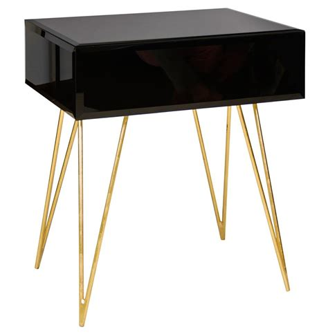 Black Glass Side Table Biscayne Regency Black Glass Nightstand Side Table Kathy Kuo Home
